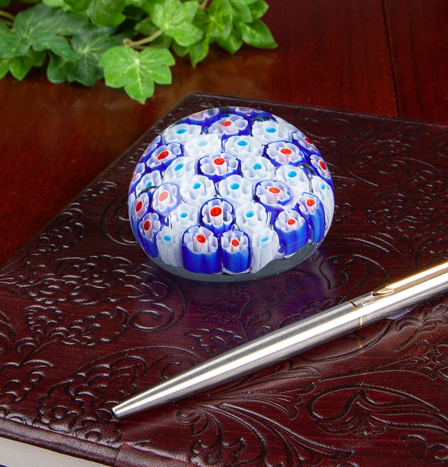 Colorful Flower Paper Weight Decorative Art Glass Collectible Millefiori Handmade Glass Paperweight Beautiful Office Decor