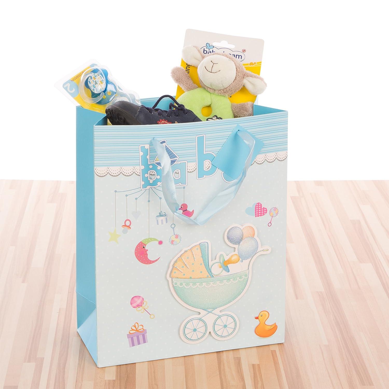 LEVIVO Bolsa de Regalo 3D para bebé, diseño 1, Azul Celeste, Paper, 26x12x32 cm: Amazon.es: Hogar