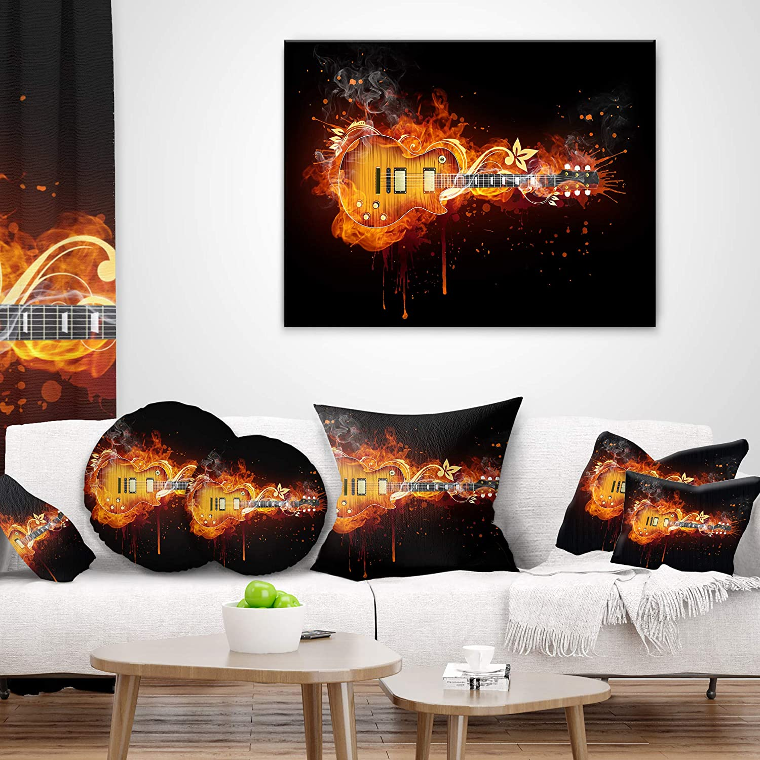 Insert Printed On Both Side Sofa Throw Pillow 12 in Designart CU7150-12-20 Electric Guitar Abstract Lumbar Cushion Cover for Living Room x 20 in in