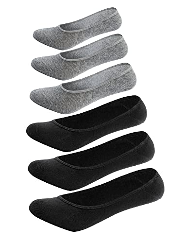 Mens No Show Socks 6 Pack Casual Low Cut Thin Loafers Non Slip Boat Liners