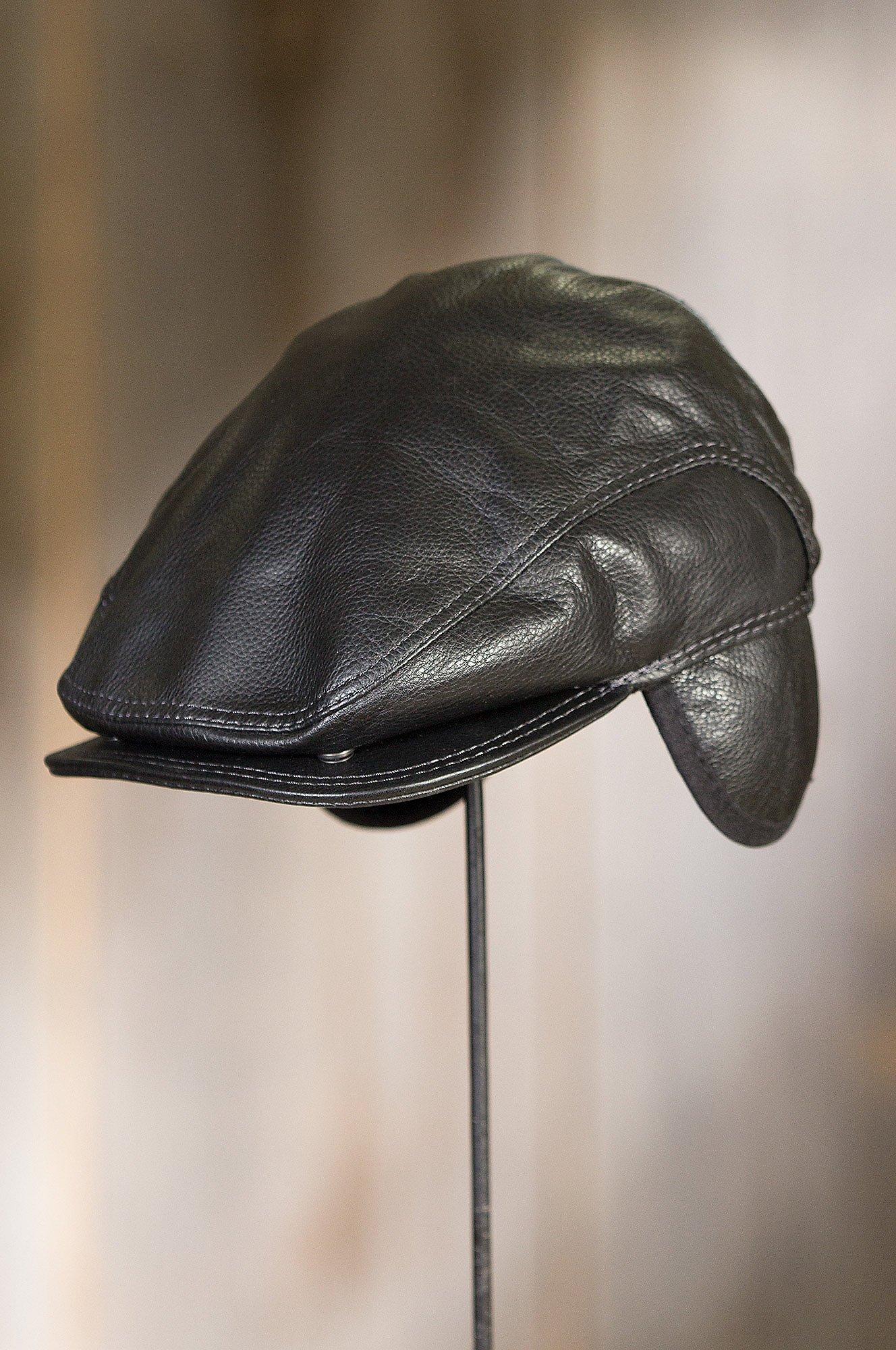 Overland Sheepskin Co. Allen Leather IVY Cap, Black, Size Large (7 1/4-7 3/8) by Overland Sheepskin Co (Image #3)