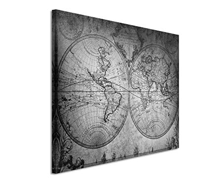 X Cm Photo Canvas With Black And White Vintage World Map Design - Black and white vintage world map