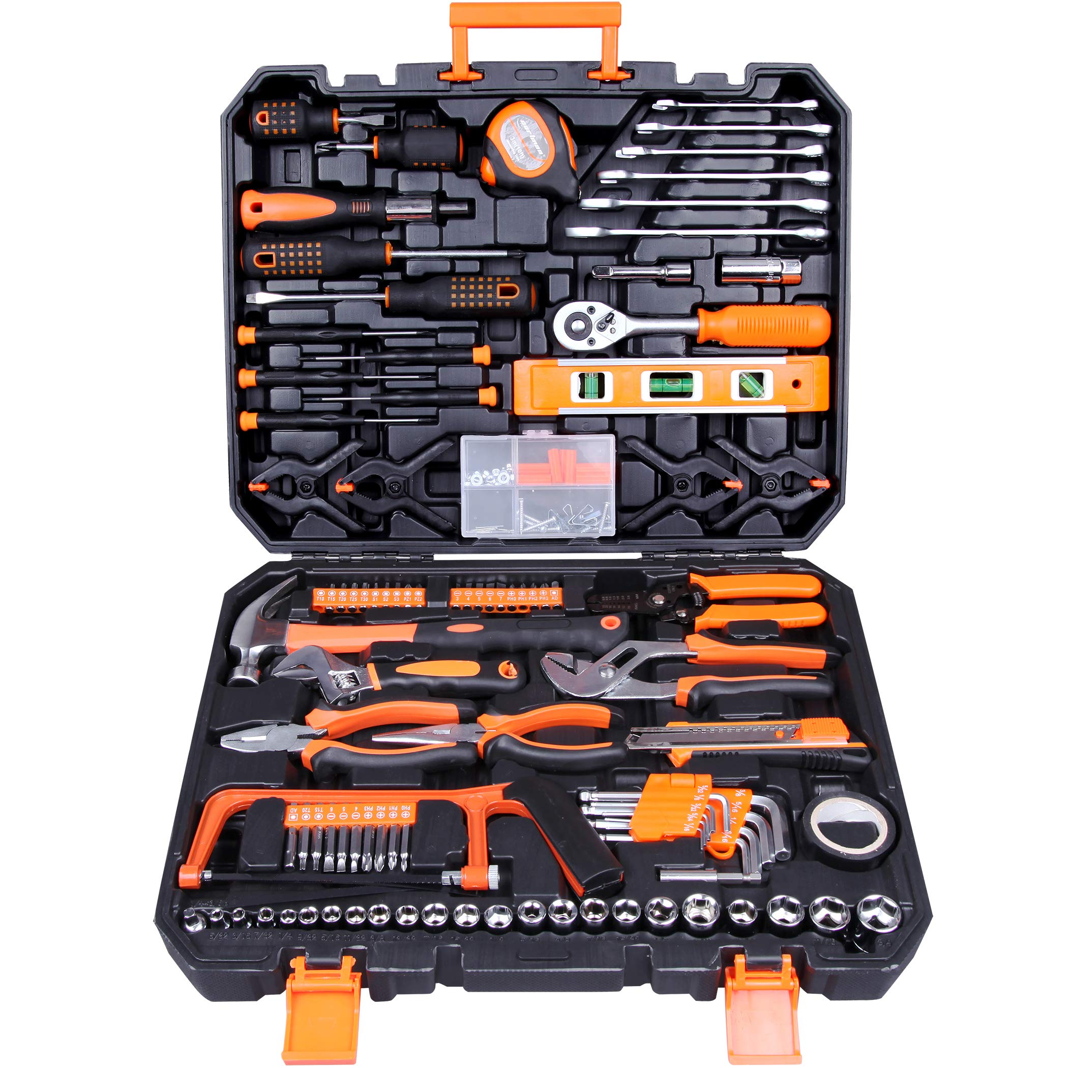 CARTMAN Tool Set 168Pcs Orange, General Household Hand Tool Kit with Plastic Toolbox, Electrician's Tools in Storage Case by CARTMAN