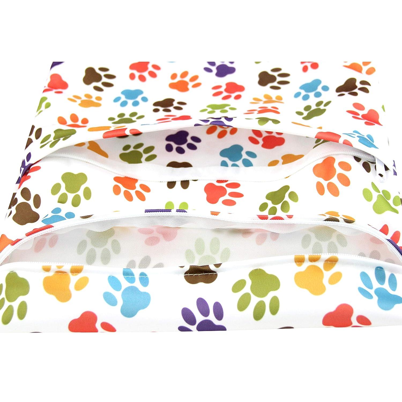 Wegreeco Reusable Hanging Wet Dry Cloth Diaper Bag 2 Pack,Orange,Fox