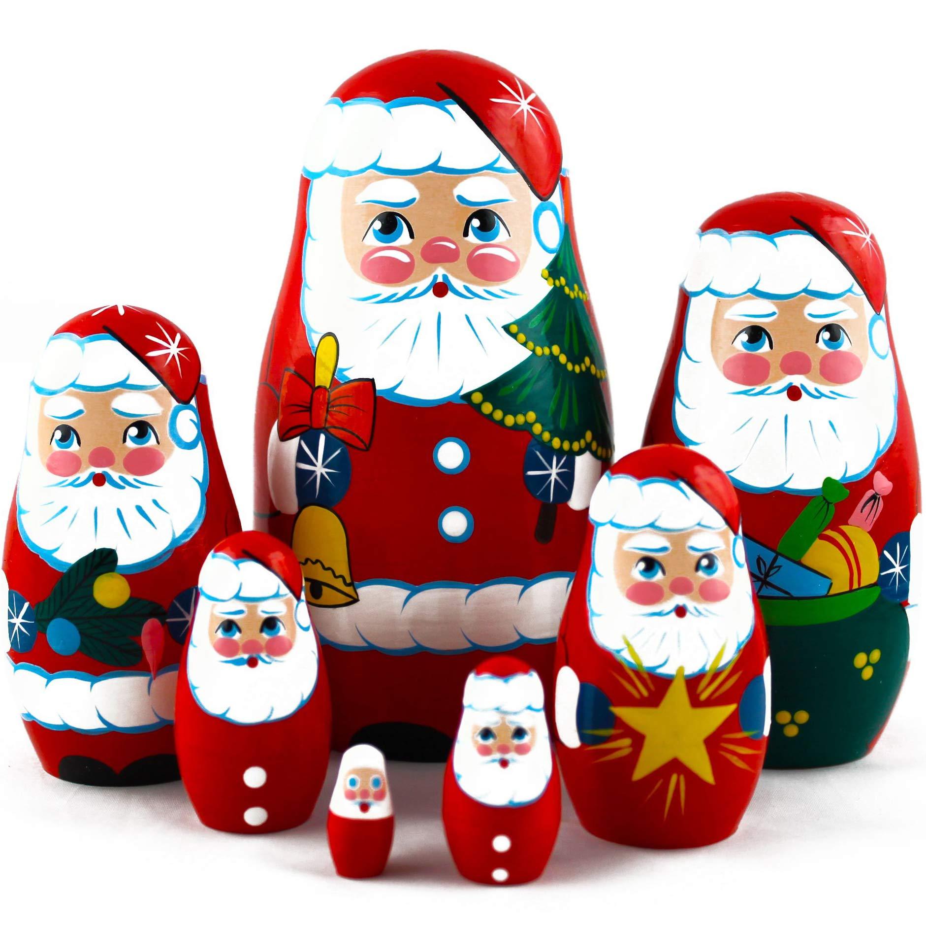 MATRYOSHKA&HANDICRAFT Christmas Santa Nesting Dolls 7 pcs - Santa Claus Christmas Decoration Doll Gifts Ideas by MATRYOSHKA&HANDICRAFT