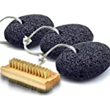 Bath Blossom Foot Pumice Stones (3 Pack) Natural Earth Lava - Skin Exfoliating Feet Scrubber and Scraper - Great for Dead Skin, Callus and Corn Removal Bonus Nail Cleaning Brush