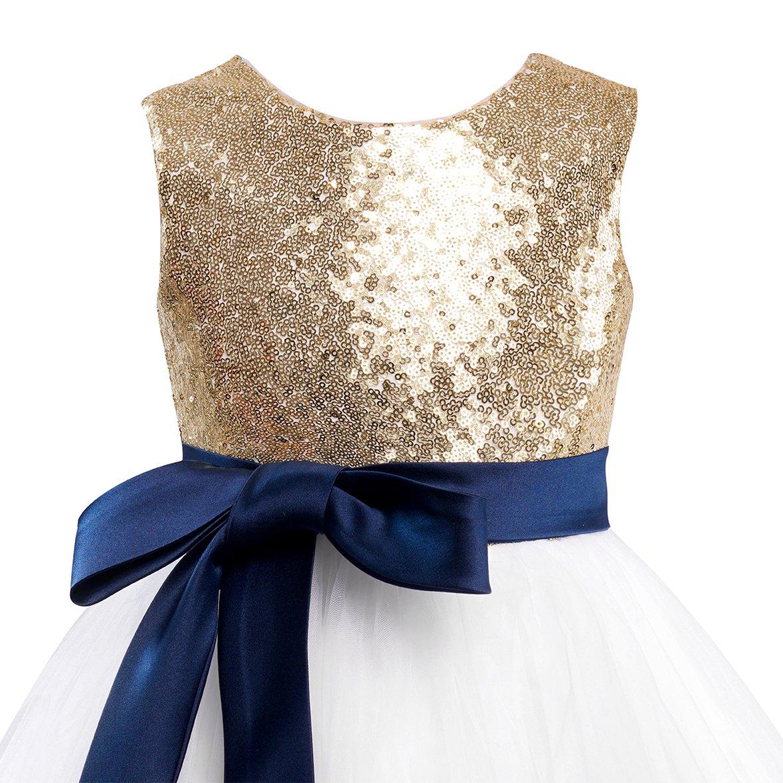 c34f66fd Amazon.com: Miama Gold Sequin Ivory Tulle Wedding Flower Girl Dress Junior  Bridesmaid Dress: Clothing