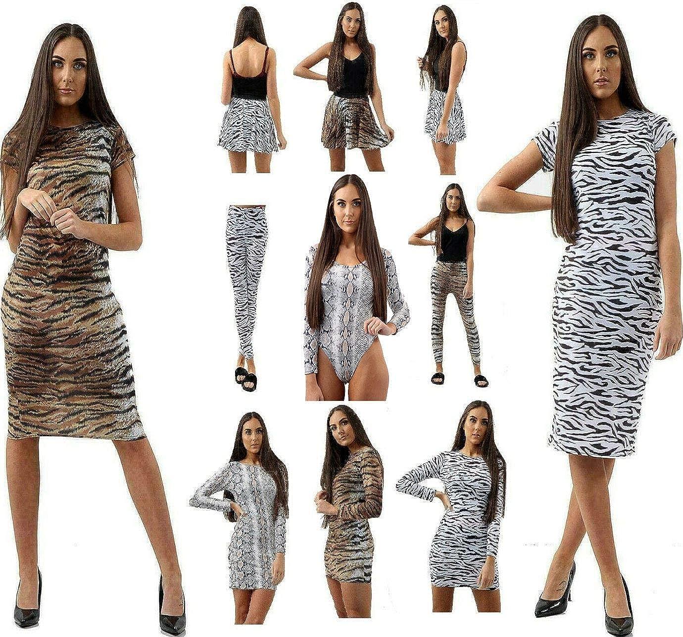 Hi Fashionz Mujeres Tigre Serpiente Estampado Bodycon Vestido Midi ...