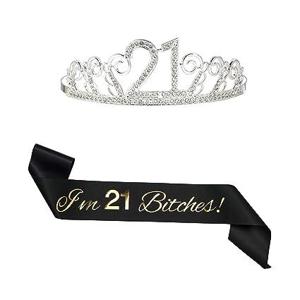 Amazon.com: B4MBOO - Tiara de satén para 21 cumpleaños, con ...