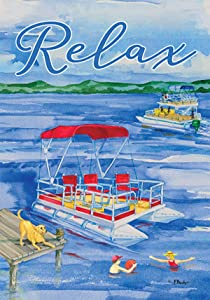 Custom Decor Pontoon Boat Relax - Standard Size, 28 x 40 Inch, Decorative Double Sided, Licensed and Copyrighted Flag, Printed in The USA