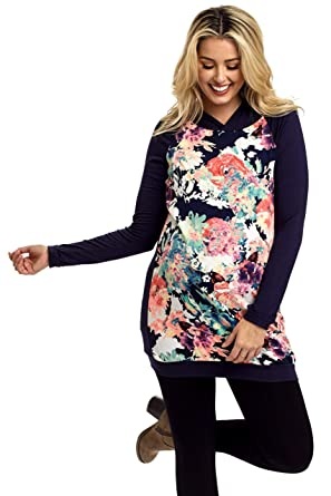 d289b73d669e PinkBlush Maternity Neon Floral Hooded Top at Amazon Women's Clothing store:
