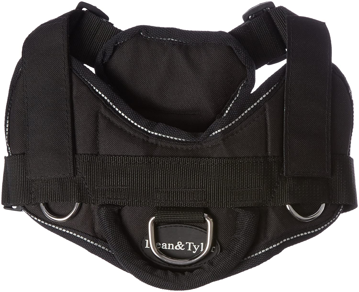 Dean & Tyler DT Fun Seizure Alert Service Dog  Dog Harness with Padded Chest Piece, Fits Girth Size 22-Inch to 27-Inch, Small, Black with Reflective Trim