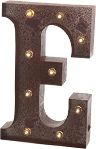 """Barnyard Designs Metal Marquee Letter E Light Up Wall Initial Wedding, Home and Bar Decoration 12"""" (Rust)"""