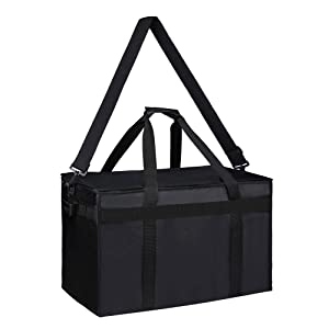 Bodaon Catering Bags with Compartments and Shoulder Strap for Food Deliveries, Insulated Delivery Bag for Uber Eats, Warming Hot, Warmer Carrying Bag dividers, 1 Pack, Black