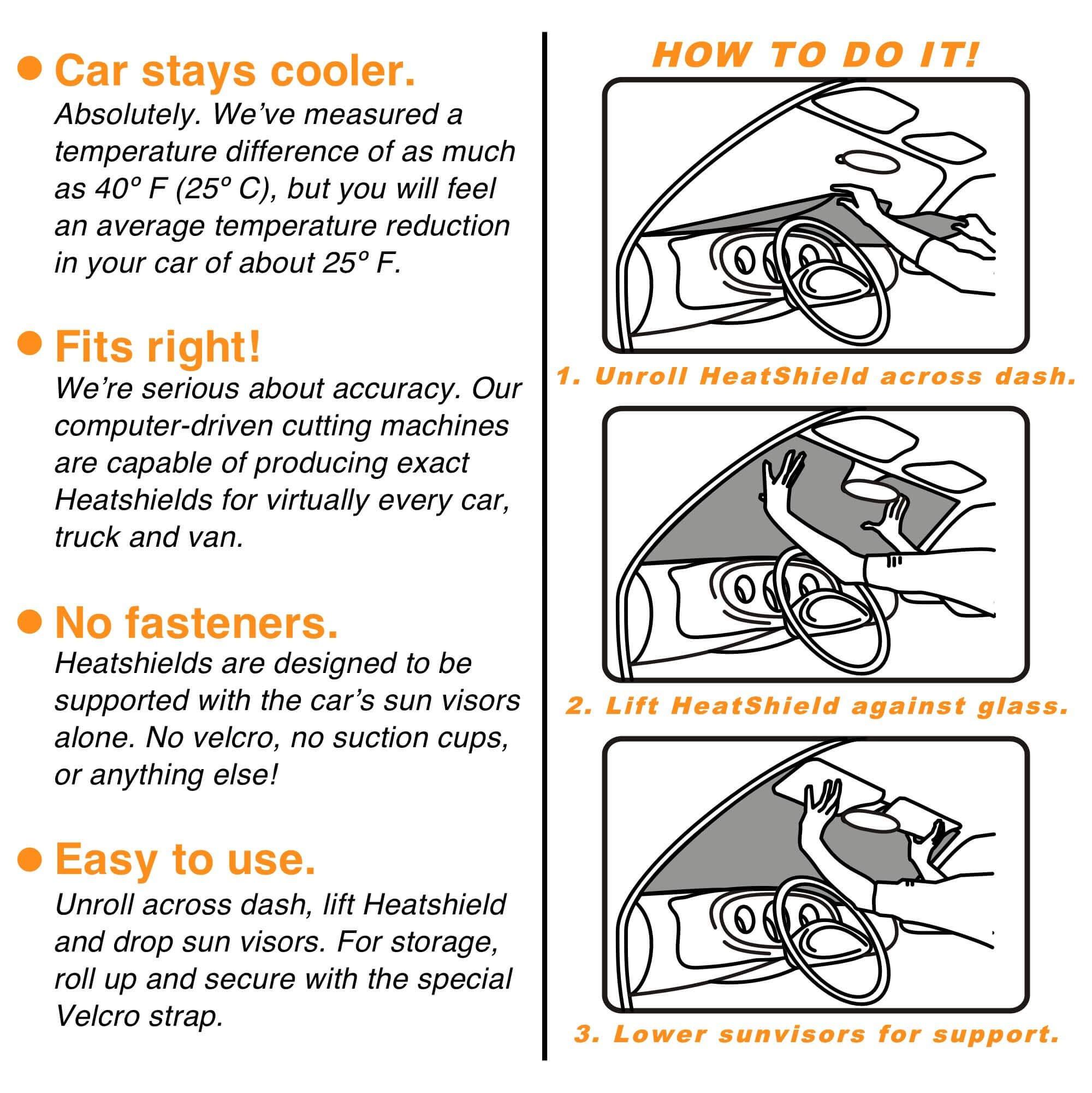 HeatShield The Original Auto Sunshade, Custom-Fit for Honda Civic Sedan 2012, 2013, 2014, 2015, Silver Series by HeatShield (Image #5)
