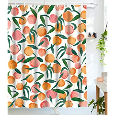 Lifeel Peach Shower Curtains,Funny Fruit Design Fabric Summer Shower Curtain Set with 12 Hooks,Peachy White 72 ×72