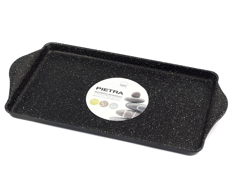 H/&H Black Piastra Liscia Antiaderente Pietra 58X30 Pentole E Preparazione Cucina Nero