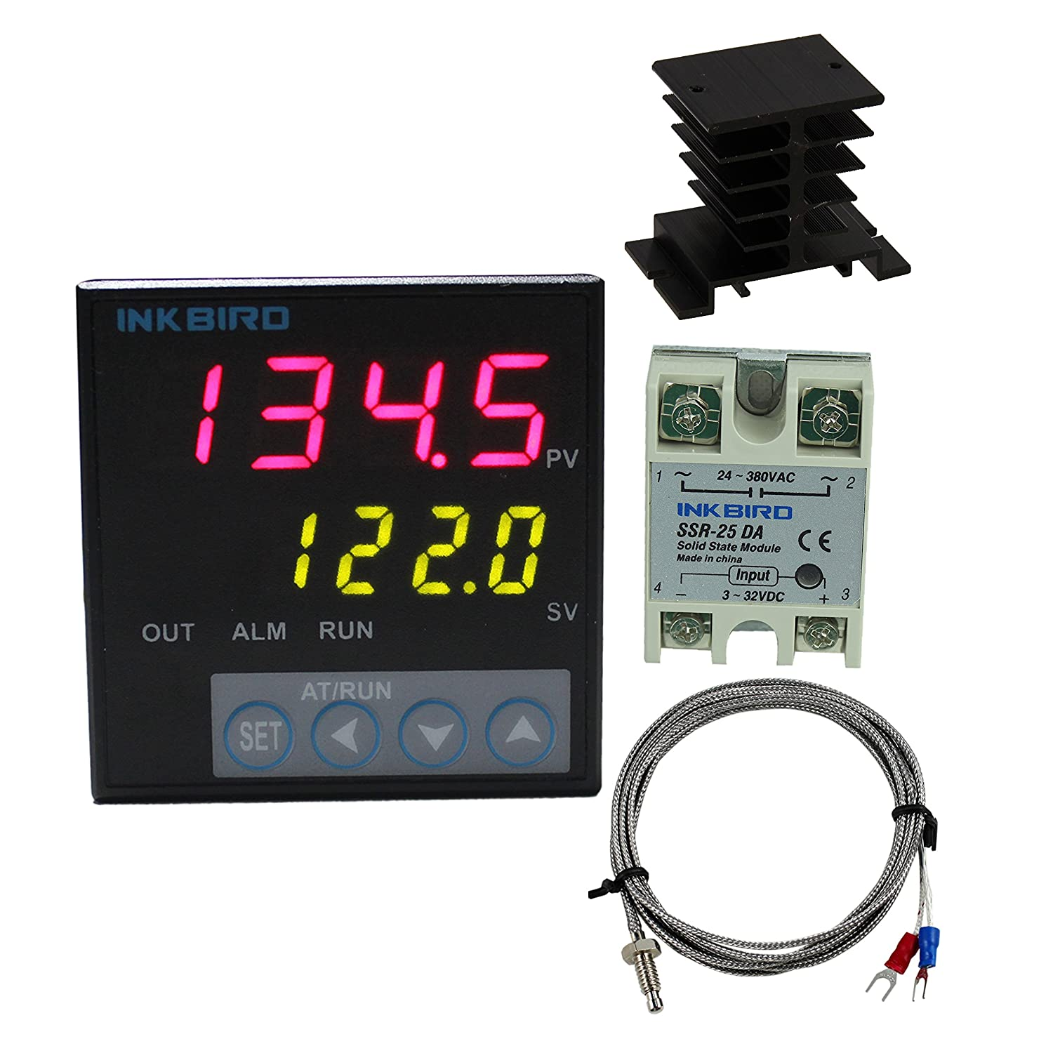 Inkbird F Display PID Temperature Controllers Thermostat Heat Sink and Solid State Relay 100 to 240ACV ITC-106VH 25DA SSR Black Heat Sink K Probe