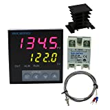 Inkbird F Display PID Temperature Controllers Thermostat ITC-106VH, K Sensor, Heat Sink and Solid State Relay, 100ACV - 240ACV (ITC-106VH + 25A SSR + Black heat sink + K Probe)