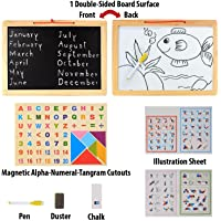 UJIE® 15 Inch Double Sided Magnetic White & Black Wooden Board with Tangram Letters & Numbers (Multi Color)