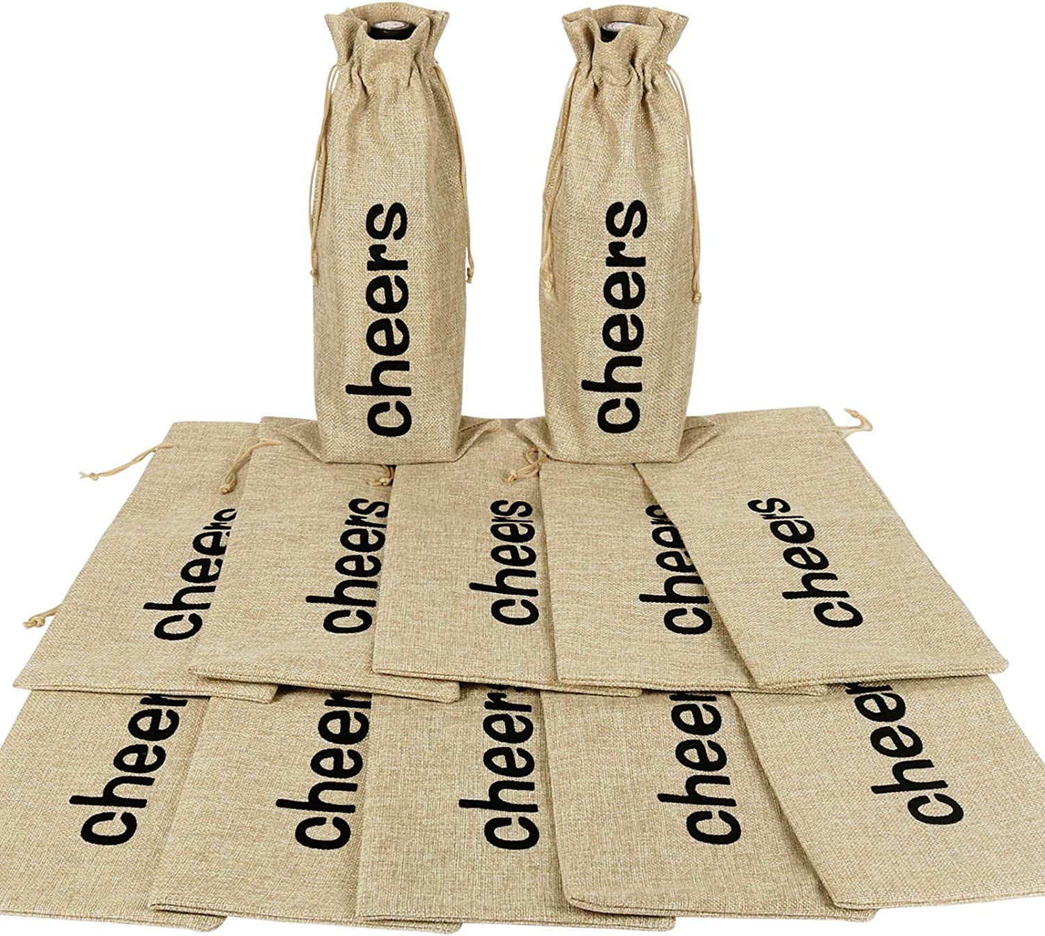12pcs Cheers Burlap Wine Bags, Hessian Cloth Bottle Gift Bags with Drawstring for Christmas Holiday Champagne Wine Tasting Party