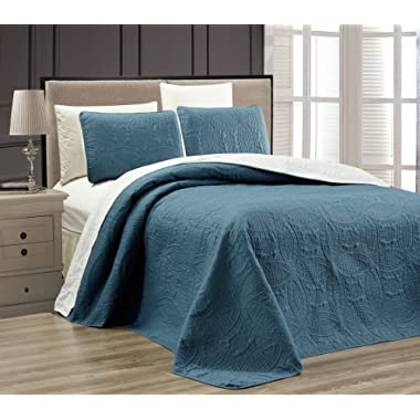 3-Piece SPA BLUE / WHITE Oversize  ORNATO  Reversible Bedspread QUEEN / FULL Embossed Coverlet set 106 by 100-Inch