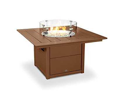 Amazoncom POLYWOOD Square Fire Pit Table Teak Garden Outdoor - Teak fire pit table