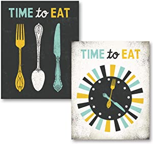"Adorable Grey, Teal and Yellow ""Time To Eat"" Clock and Fork, Spoon and Knife Set by Michael Mullan; Kitchen Decor; Two 11x14in Unframed Paper Posters"