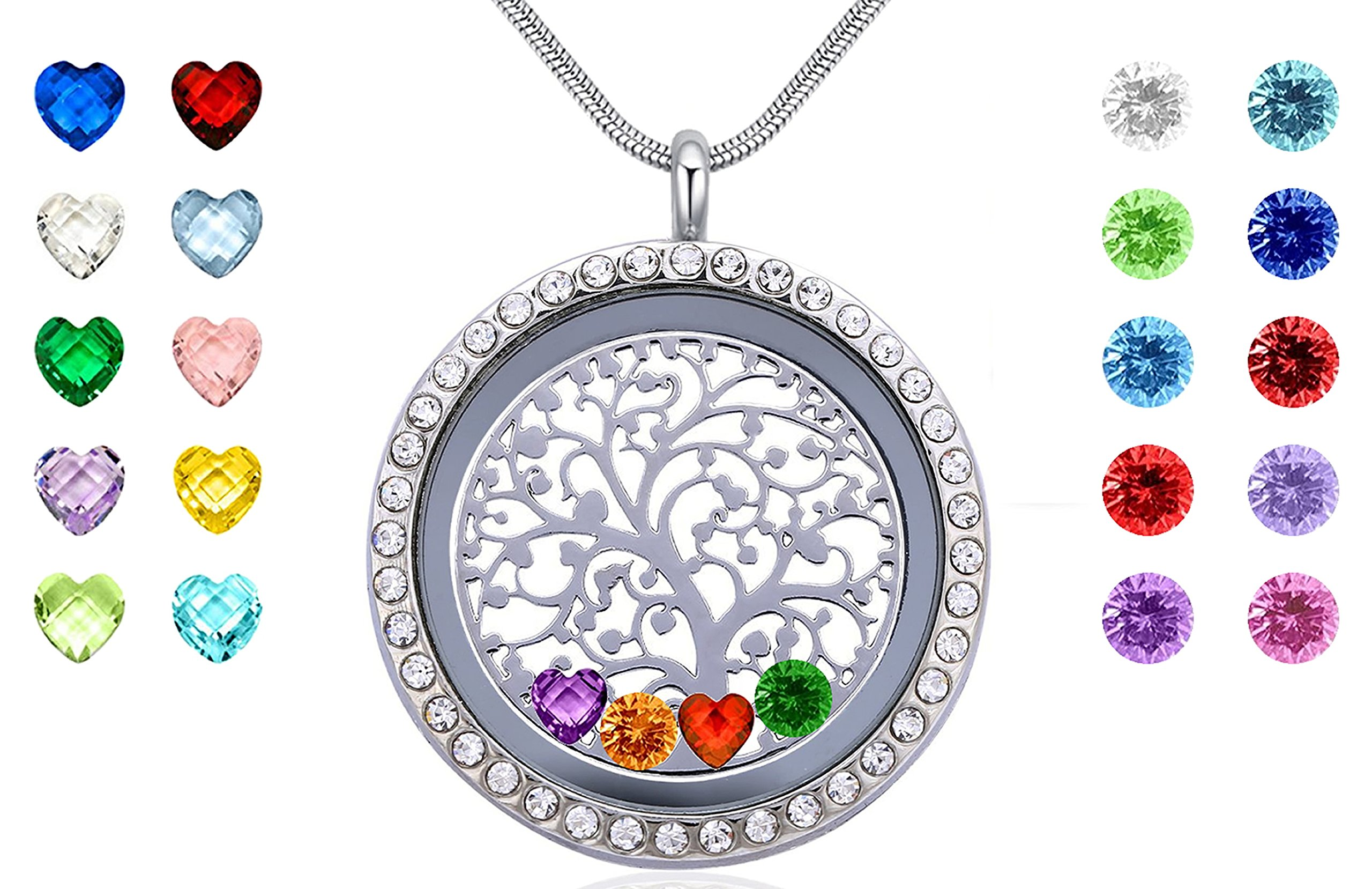 Floating Charms Living Memory Locket with 24 Birthstones,Gifts for Mom Girls Wife Sister Aunt Nieces Friends Daughter Boys, Silver Magnetic Closure Stainless Steel Jewelry