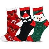 TeeHee Christmas Holiday Cozy Fuzzy Crew Socks 3-Pack for Kids