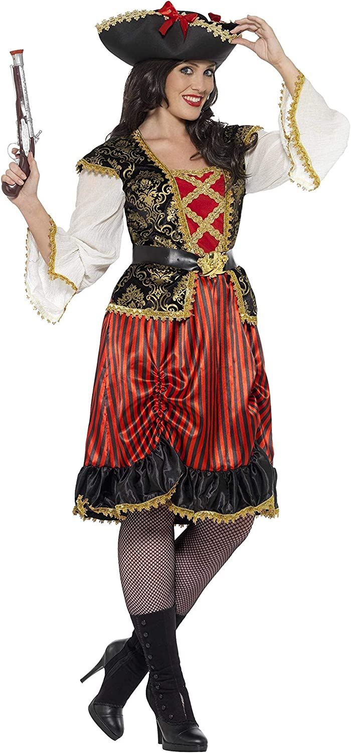 Curves Pirate Captain Costume Smiffys Fancy Dress Costume