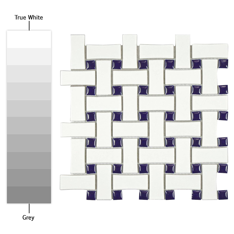 SomerTile FDXMBWWB Retro Dog Bone Basket Weave Glazed Porcelain Mosaic Floor and Wall Tile Matte White//Black, 10.5 x 10.5