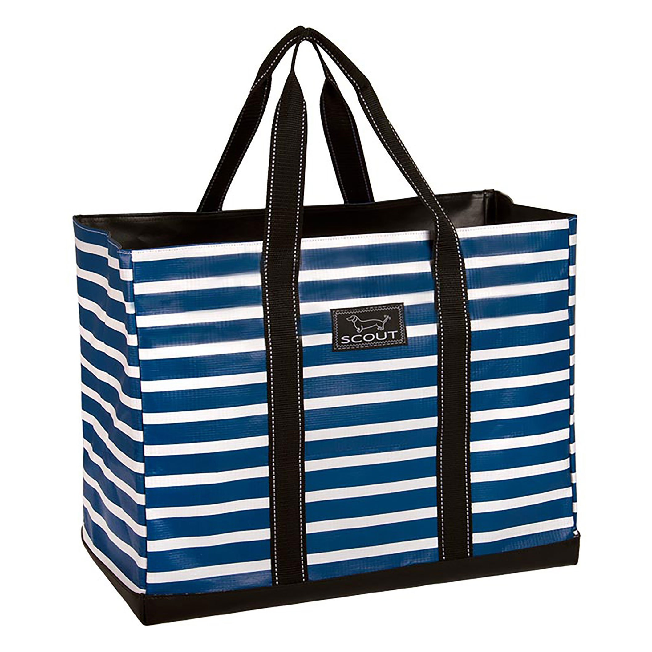 SCOUT Original Deano Large Tote Bag, For The Beach, Pool or Travel, Folds Flat, Water Resistant, Sturdy Base, Interior Key Ring, Nantucket Navy