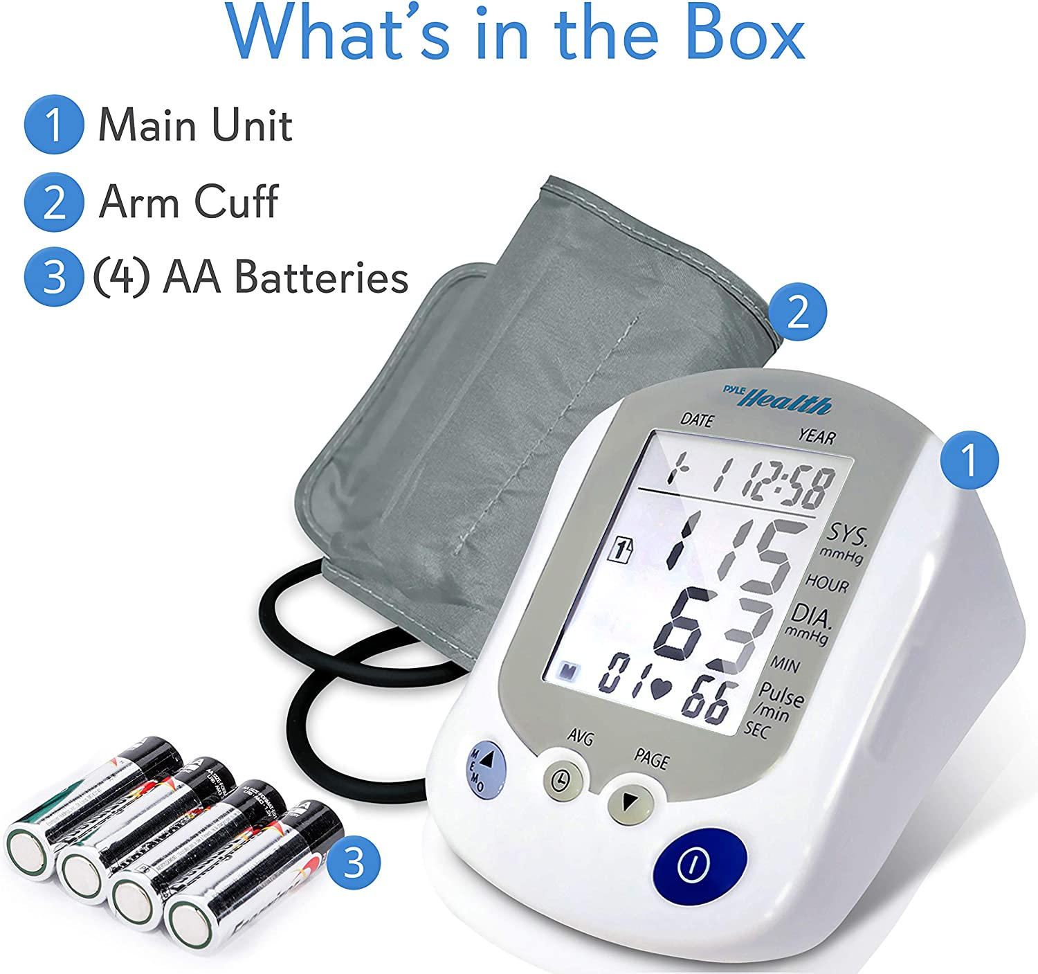Digital Blood Pressure Monitor - Portable Automatic Pulse Rate Systolic Diastolic BP Tracker Machine- Standard Cuff Fits Large, Any Size Upper Arm