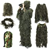 Ghillie Suit,OUTERDO Camo Suit Woodland and Forest Design Military Leaf Hunting and Shooting Accessories Tactical Camouflage Clothing Free Size for Airsoft,Wildlife Photography Halloween or Christmas