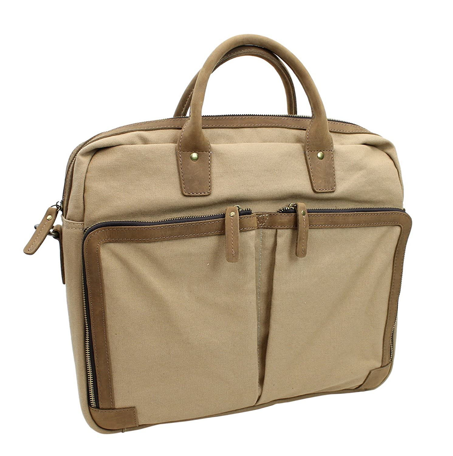 Casual Style Cotton Canvas Large Messenger Laptop Bag C47. Military Green B071LFDFB3