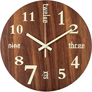 Glow in Dark Wall Clock with Luminous Retro Words Numerals, 12 Inch Small Silent Non-Ticking Battery Operated Analog Night Light Wooden Wall Clock for Bedroom, Living Room, Kitchen, Dining Room