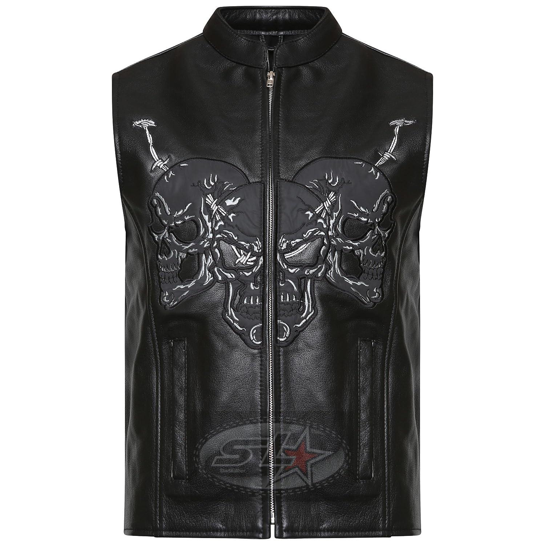 Star Leather UK Stock New Mens Real Leather Classic Motorcycle Embossed Biker Skull Waistcoat/Vest SL-08