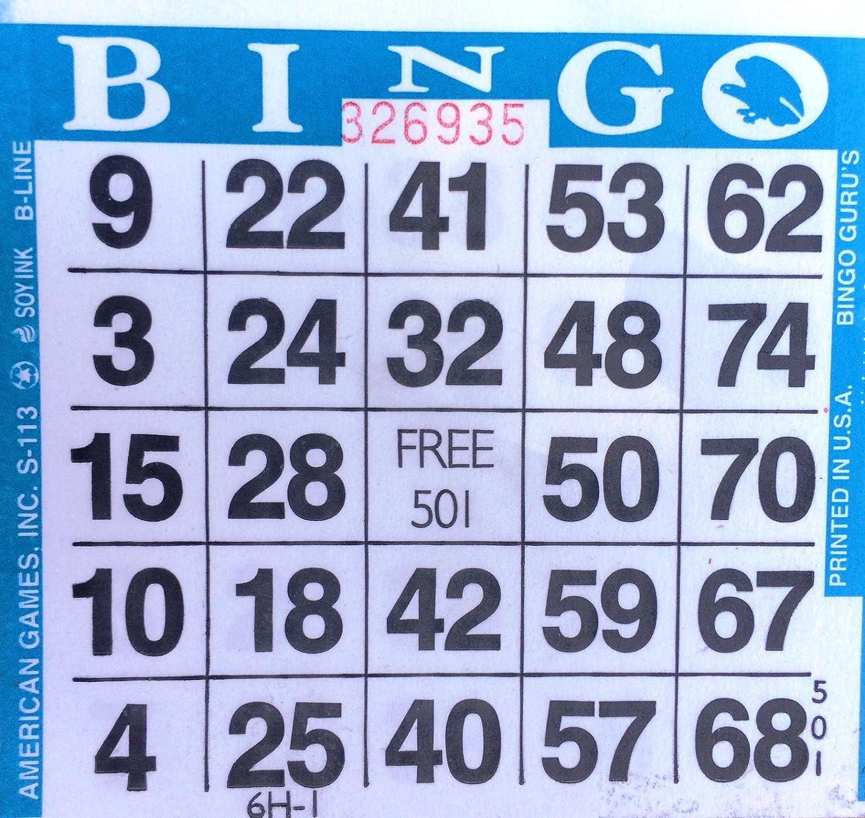 1 on (Single) Blue Bingo Cards American Games