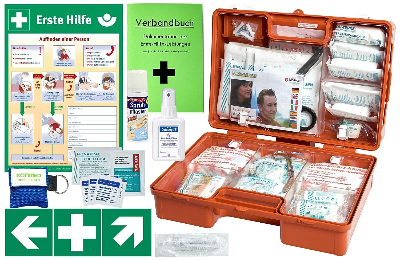 Erste-Hilfe-Koffer M5 PLUS fü r Betriebe DIN/EN 13157 & DIN/EN 13164 fü r KFZ - Komplett-Paket incl. Notfall-Beatmungshilfe + Hä nde-Antisept-Spray + Verbandbuch + Aushang 1.Hilfe + Sprü hpflaster HM Arbeitsmedizin M5-SP-AH