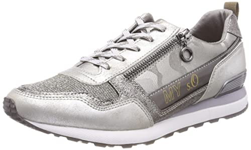 23642, Sneakers Basses Femme, Argent (Pewter Comb.), 41 EUs.Oliver