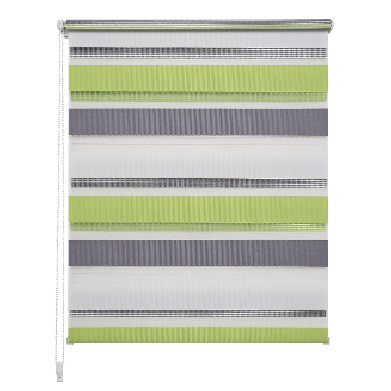 Liedeco DUO Rollo Klemmfix - 100 x 160 cm grün grau weiß (Breite x Höhe)   3 farbig   transparent lichtdurchlässig blickdicht und stufenlos verstellbar   leichte Innen-Montage ohne Bohren mit Klemmträger   123 montiert   Doppelro