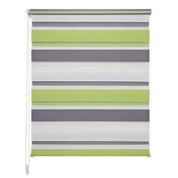 inkl LIEDECO Klemmfix Duo-Rollo grün-grau-weiß Klemmträger