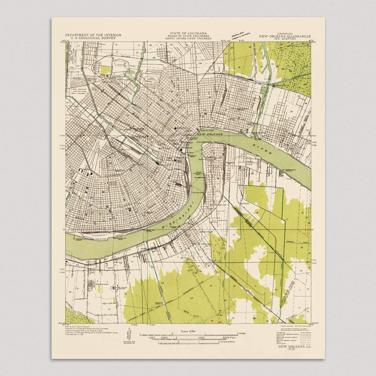image relating to Printable Maps of New Orleans referred to as : Previous Clean Orleans Map Artwork Print, 1932, Typical