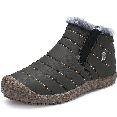 ukStore Herren Damen Winterschuhe Warm Gefüttert Winterstiefel Leder Wasserdicht Schneestiefel Outdoor Winter Boots Schnür Kurz Stiefel,Blau 44
