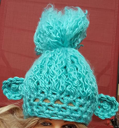 Amazon.com  Crochet teal troll hat. Animal Hat. Made by Bead gs on AMAZON.  Fits 4 years and up size.  Handmade e62f41bbc09