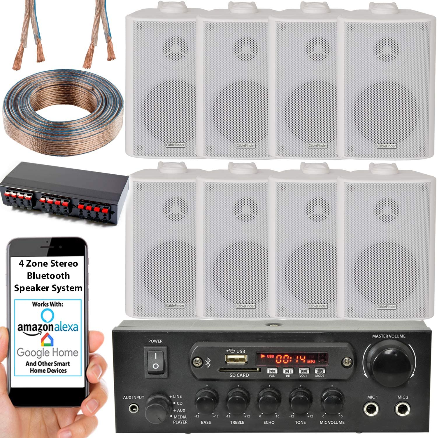 4 Zone Bluetooth Speaker Background Music Kit Stereo Amplifier 8x White Wall Mounted Hifi Speakers Stereo Wireless Background Sound System Cafe Restaurant Pub Shop Home Multi Room Audio