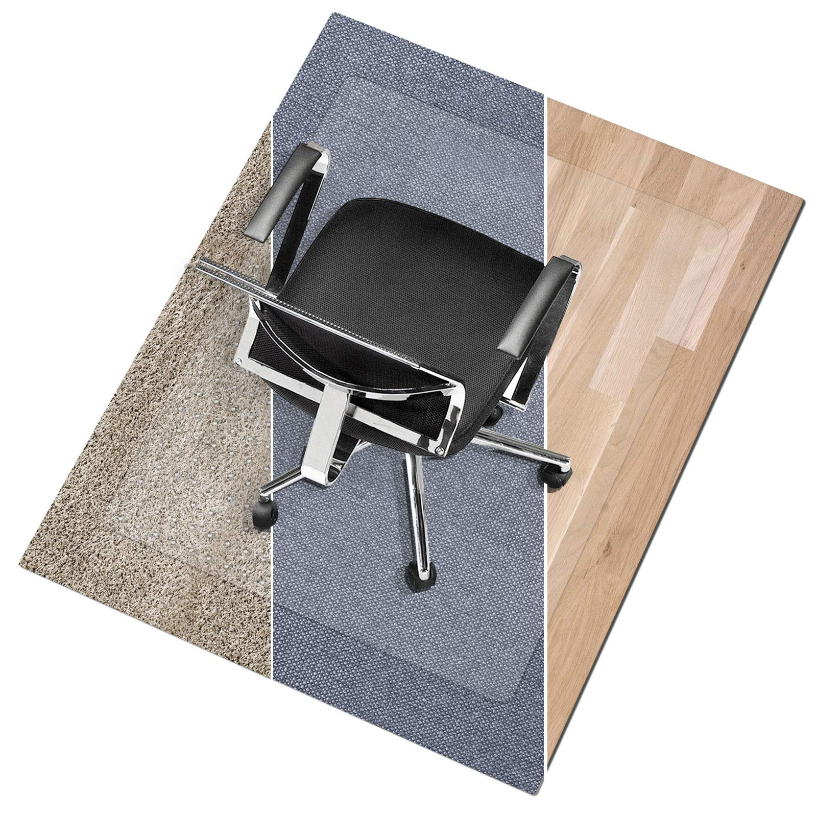 Office Marshal Polycarbonate Chair Mat for Medium Pile Carpet Floors, 36'' x 48'' - Multiple Sizes - Clear, Studded, Carpet Floor Protection Mat by Office Marshal