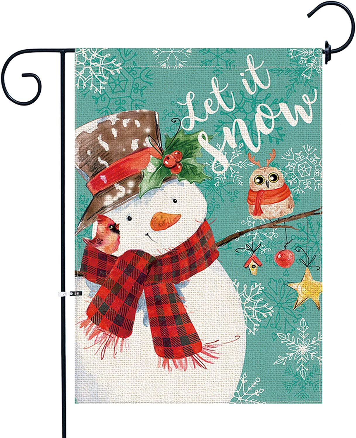 Bonsai Tree Winter Garden Flag , Burlap Double Sided Small Holiday Christmas Snowman Flag 12x18 Inch for Yard Outdoor Decoration