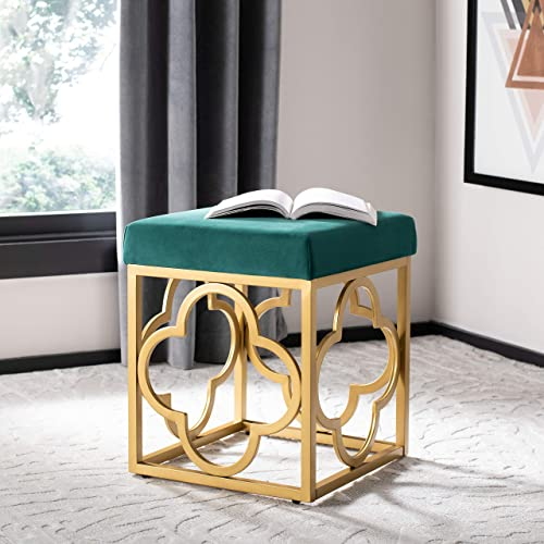 Safavieh Home Fleur Glam Green Velvet Square Ottoman, Emerald Gold